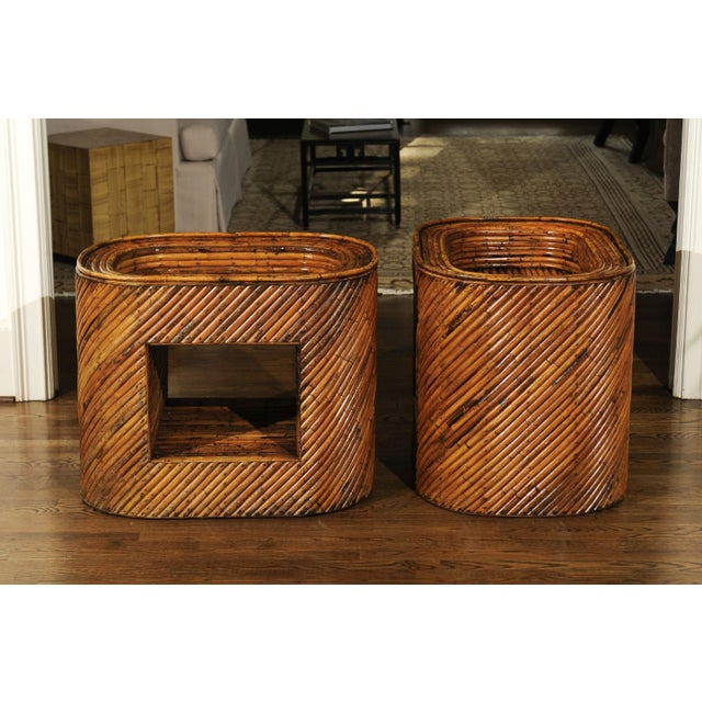 Exceptional Restored Pair of Bamboo Display End Tables, circa 1975 For Sale - Image 9 of 13
