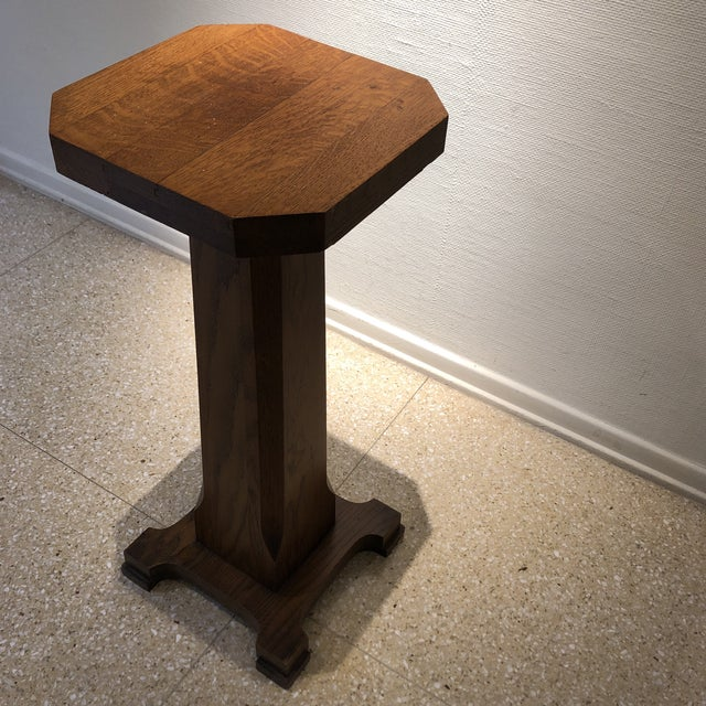 Brown 1940s Traditional Oak Pedestal For Sale - Image 8 of 11