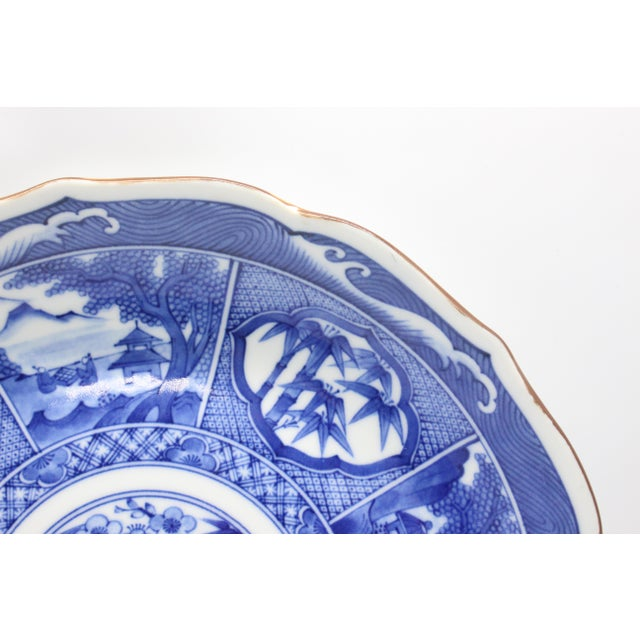 Japanese Pictorial Blue & White Imari Painted Decorative Plate, Artist Signed For Sale In Los Angeles - Image 6 of 8