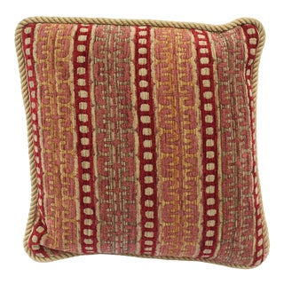 Contemporary Upholstered Decorative Pillow in Burgundy and Gold For Sale