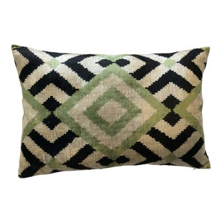 Celery and Black Silk Velvet Down Feather Ikat Accent Pillow