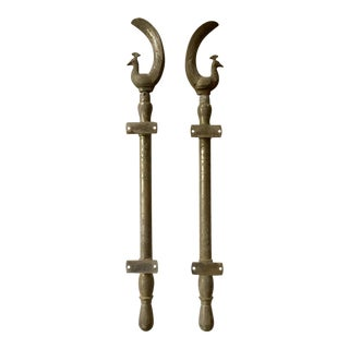 1940s Asian Peacock Shaped Brass Silvered Door Handles - a Pair For Sale