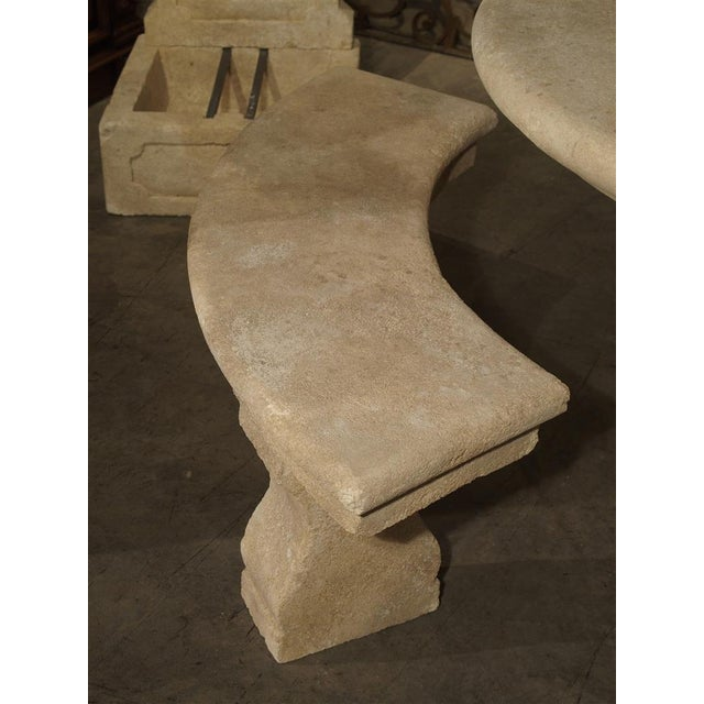 French Small Carved Limestone Garden Bench from Provence, France For Sale - Image 3 of 9