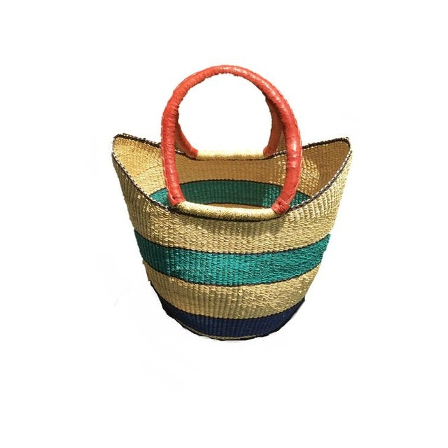African African Bolga Ghana Woven Turquoise Blue Stripe and Tan Yikene Basket For Sale - Image 3 of 4