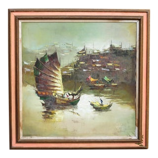 Chinese Trading Ships Oil Painting by W. S. Chiang For Sale