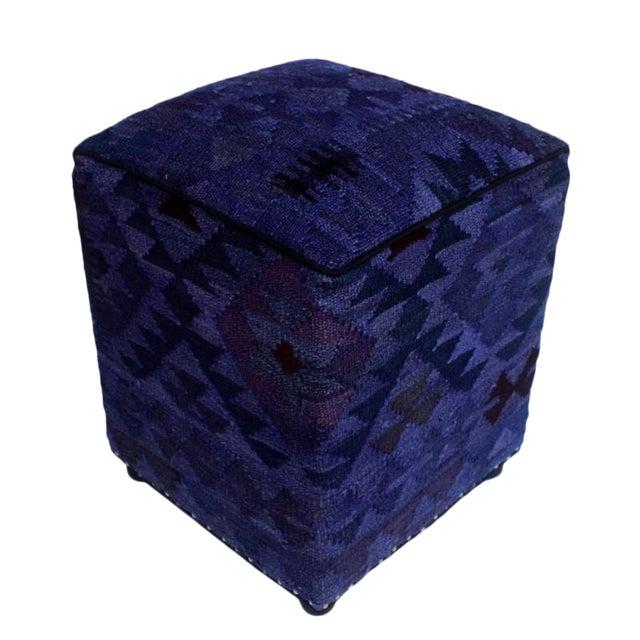 Arshs Demetric Purple/Drk. Gray Kilim Upholstered Handmade Ottoman For Sale