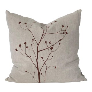 Botanical Hand Printed Linen Pillow - Branch For Sale