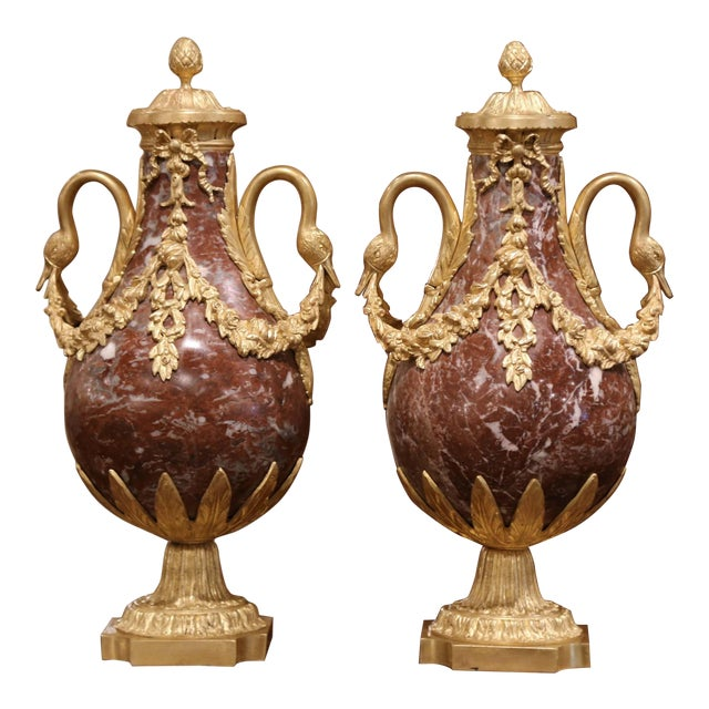 19th Century French Carved Variegated Marble and Gilt Bronze Cassolettes-a Pair For Sale