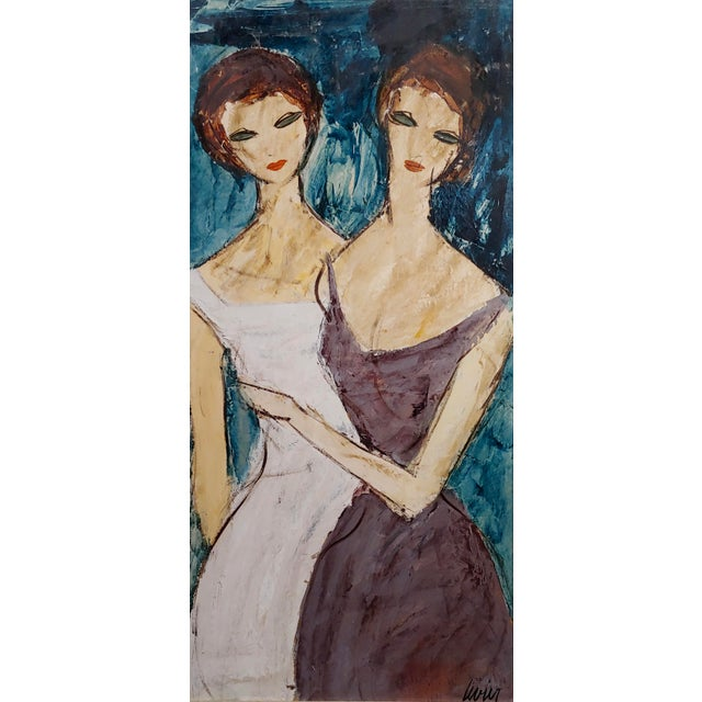 "Charles Levier ""Two Girlfriends"" Oil Painting C.1960s For Sale - Image 4 of 9"