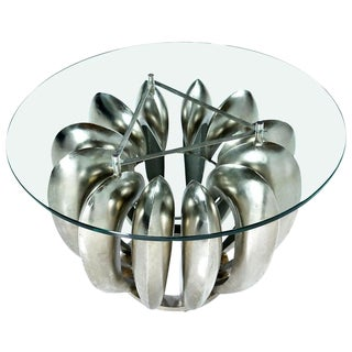 Contemporary Circular Metal Brutalist Side Table With Glass Top For Sale