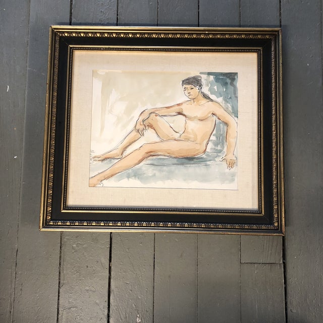 1960s Original Vintage Female Nude Watercolor Painting For Sale - Image 5 of 5