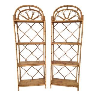 1980s Boho Chic Bamboo Rattan Bookshelves -a Pair For Sale