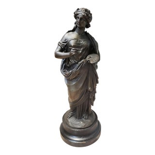 1880 French Neoclassical Style Greek Mythology Techne Spelter Sculpture on Wood Base For Sale
