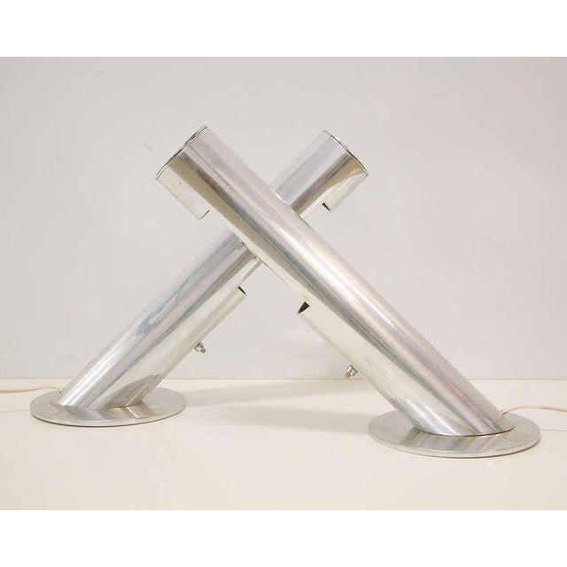 Mid-Century Modern 1970 Mid-Century Paul Mayen for Habitat Inc Polished Aluminum Lamps - A Pair For Sale - Image 3 of 11