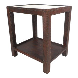 Vintage Modern Leather Studded End Table For Sale