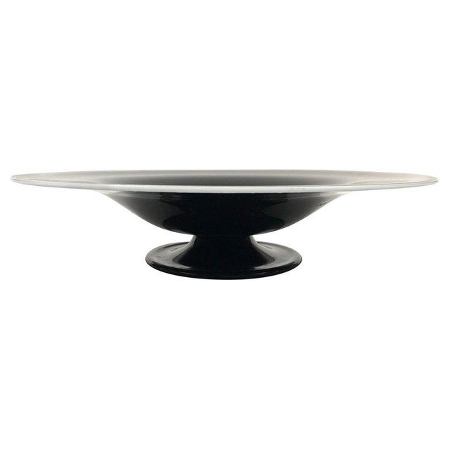 Large Black and White Italian Blown Glass Footed Bowl For Sale - Image 9 of 9