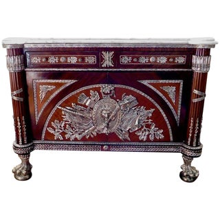 19th Century Renaissance Revolution Silver Plated Marble Topped Commode For Sale