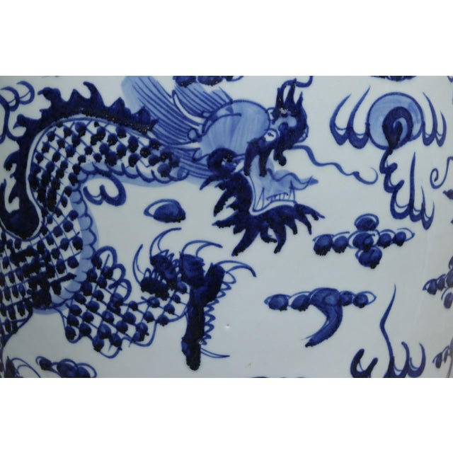 Late 20th Century Chinese Blue & White Ceramic Garden Stool For Sale - Image 5 of 7