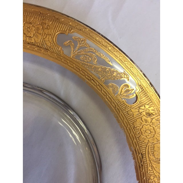 Etched Glass 24k Gold Plates With Rim - 12 Pieces For Sale - Image 4 of 11