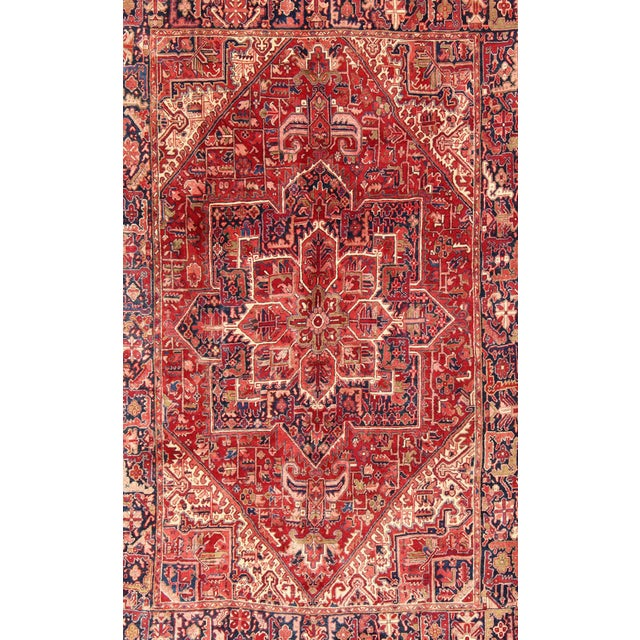 Islamic 1950s Vintage Persian Heriz Red Medallion Rug - 8′ × 11′9″ For Sale - Image 3 of 13