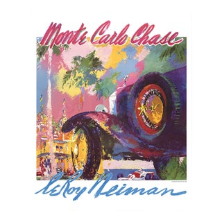 """Leroy Neiman Monte Carlo Chase 31"""" X 25"""" Poster 1988 Expressionism Multicolor For Sale"""