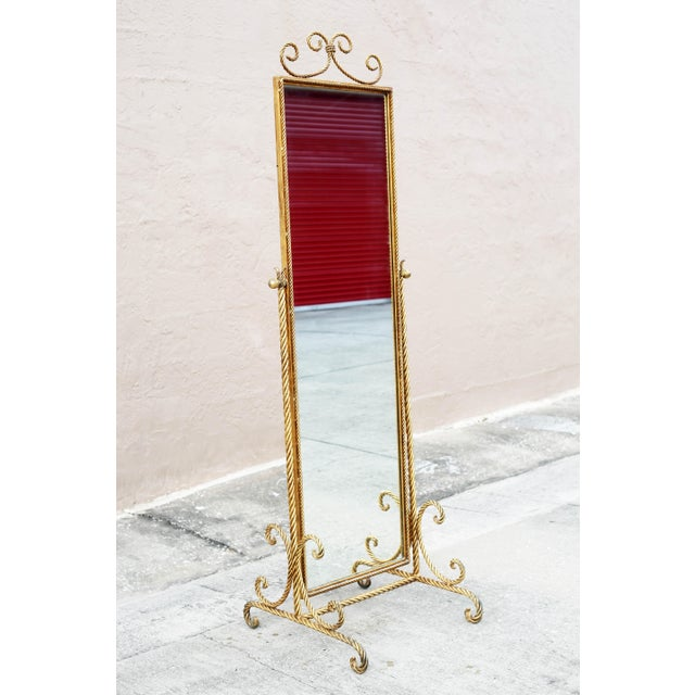 Vintage Gold Gilt Wrought Iron Rope Floor Mirror - Made in Italy For Sale - Image 11 of 11