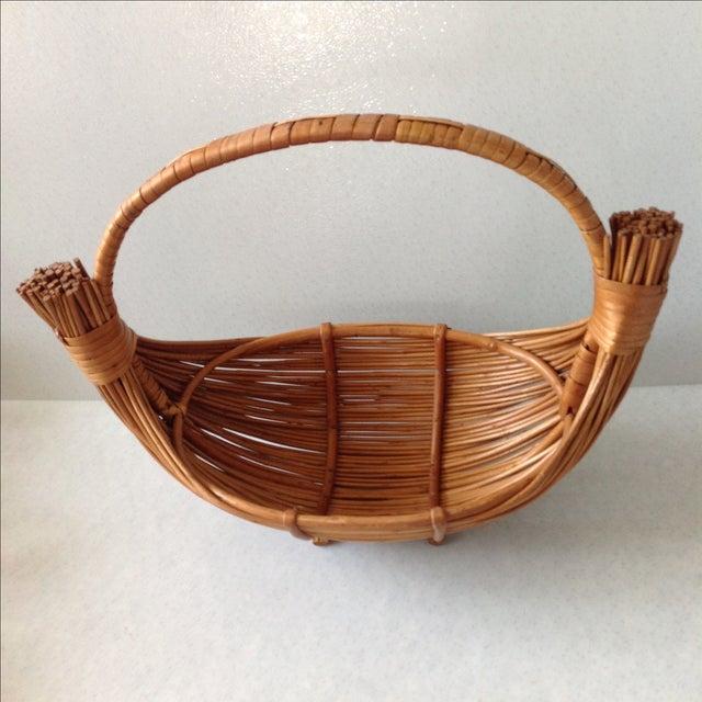 Vintage Handmade Wicker Rattan Basket For Sale - Image 4 of 9