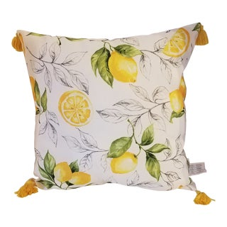 Canvas Lemon Accent Pillow For Sale