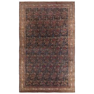 Antique Kerman Lavar Blue and Red Wool Rug For Sale