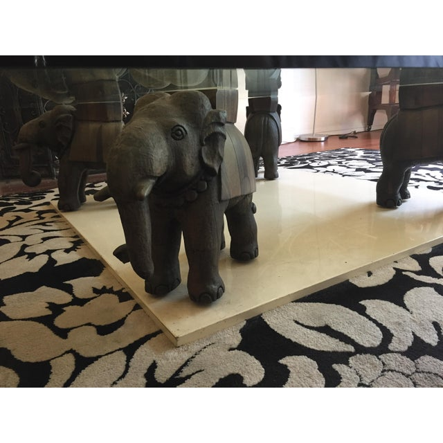 Glass Coffee Table With Wooden Elephant Stands - Image 3 of 8