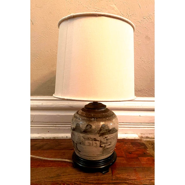 Wood Glazed Chinese Sage Green Ginger Jar Table Lamp With Shade For Sale - Image 7 of 13