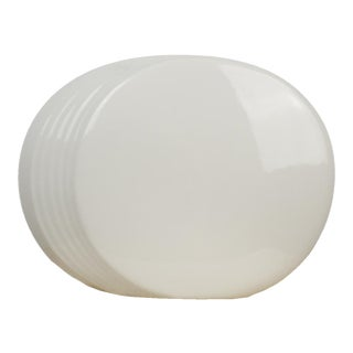 White Japanese Modernist Round Vase