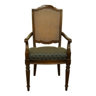 Ethan Allen Classic Manor Solid Maple Cane Back Arm Chair For Sale