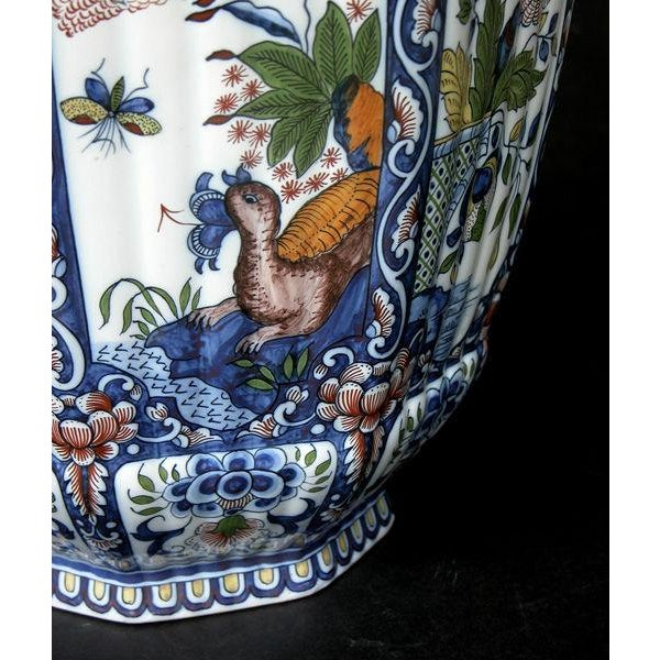 Belgian A Massive Belgian Polychromed Lobed Octagonal Ginger Jar with Lid Surmounted by a Regal Lion; by Boch Freres Keramis For Sale - Image 3 of 6