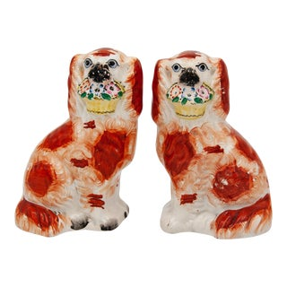 Antique Small Orange & White Staffordshire Dogs- a Pair For Sale