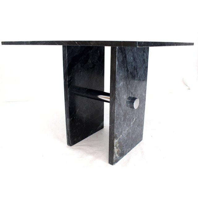 Gray Black Square Marble Top Small Conference Dining Game Cafe Table For Sale - Image 8 of 10
