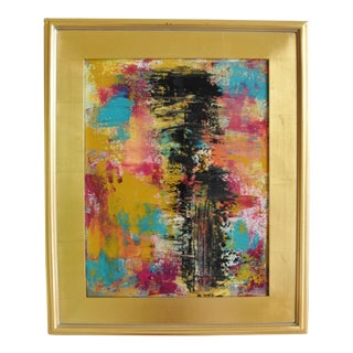 Colorful Abstract Contemporary Oil Painting W/ Gold Leaf Frame For Sale