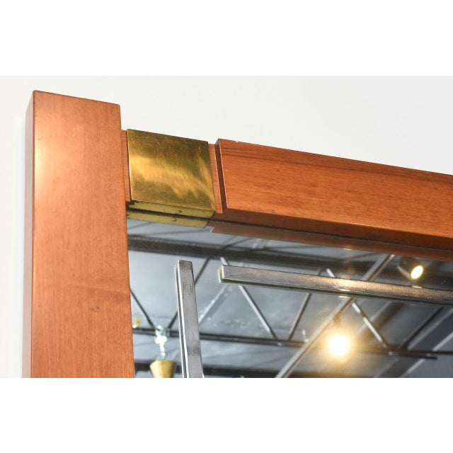 Large Italian Modern Walnut and Brass Mirror, Attributed to Giovanni Michelucci For Sale In Miami - Image 6 of 8