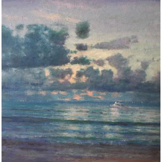 "Van Cleve Oil Painting ""Heading North"", Contemporary Blue Seascape For Sale"
