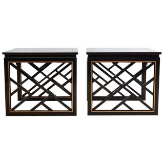 Carleton Varney for Kindel Lacquered Trellis Tables For Sale