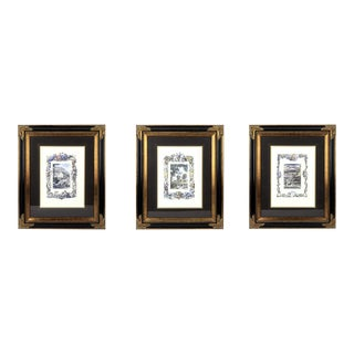 Matching Uttermost Framed Landscape Lithographs - Set of 3