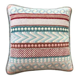 Vintage Geometric Needlepoint Accent Pillow