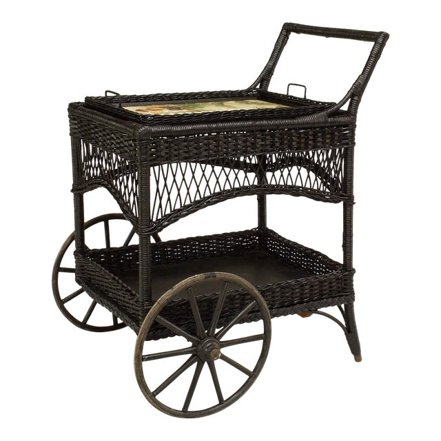 American Victorian Black Painted Wicker Bar Cart For Sale