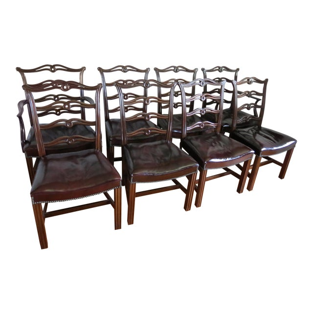 Chippendale Ribbon Back Dining Chairs - Set of 8 For Sale