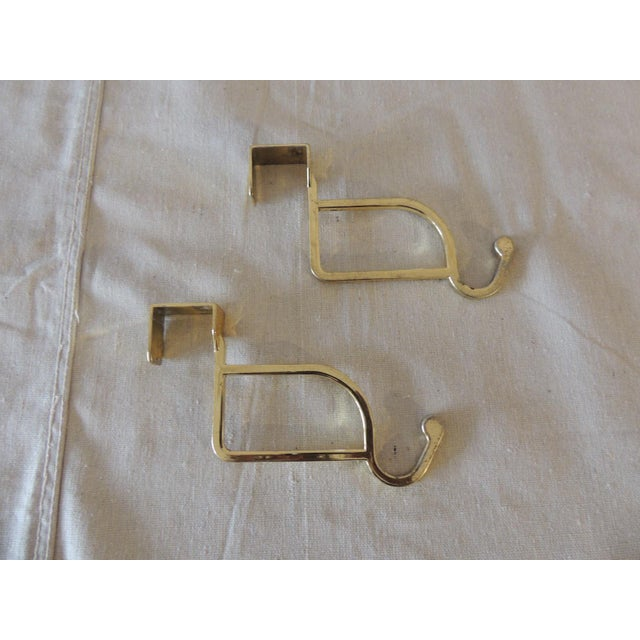 Early 21st Century Pair of Polished Brass Over the Door Coat Hangers For Sale - Image 5 of 5