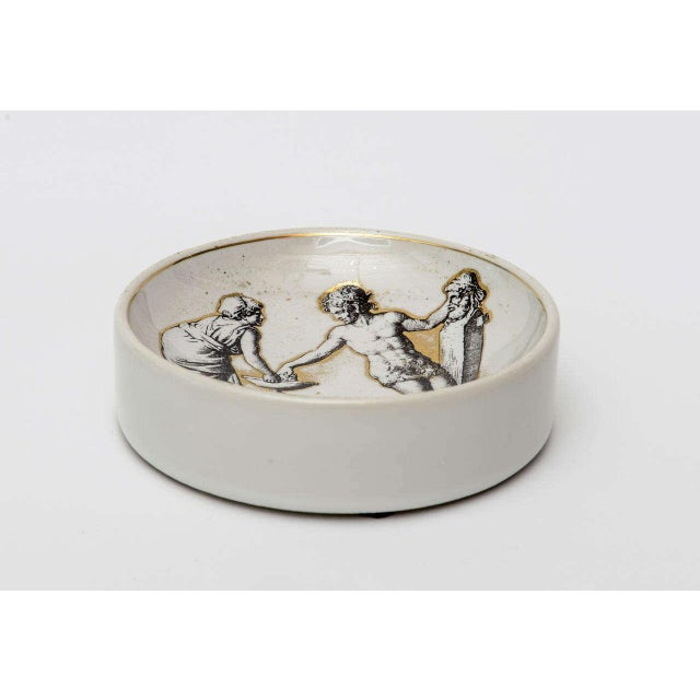 1950s Italian Signed Fornasetti Porcelain/Gold Period Round Bowl/Dish For Sale - Image 5 of 11