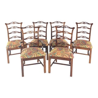 Late 20th Century Vintage Edwardian Chippendale Style Dining Chairs - Set of 6 For Sale