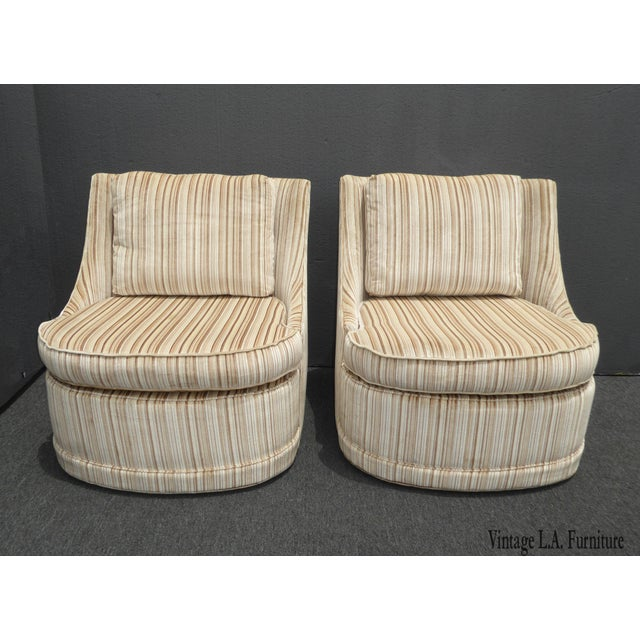 Vintage Mid-Century Modern Milo Baughman Style Tan Stripped Velvet Swivel Chairs - a Pair For Sale - Image 13 of 13