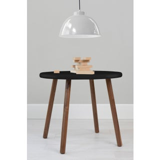 "Peewee Large Round 30"" Kids Table in Walnut With Black Finish Accent Preview"