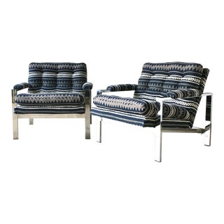 Pair of Chrome Framed Armchairs by Cy Mann 1970s For Sale